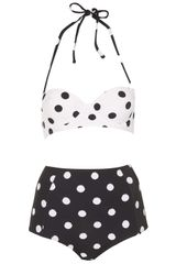 Topshop Black And White Spot Bikini - Lyst