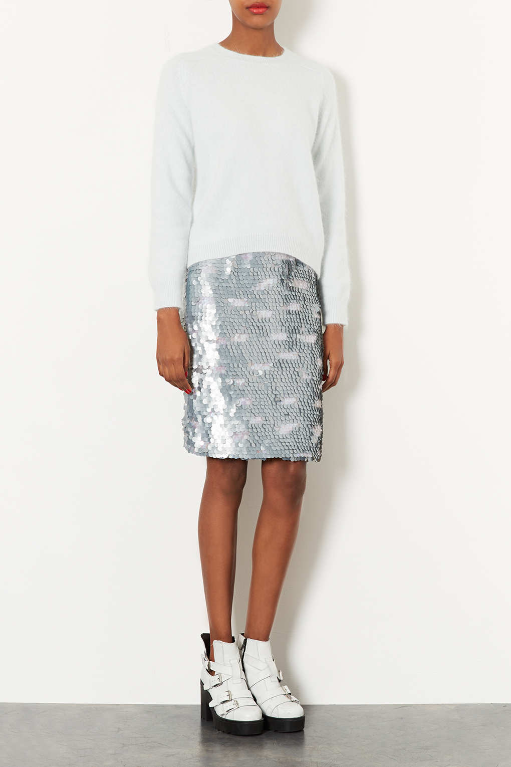 Topshop Silver Sequin Pencil Skirt in Metallic | Lyst
