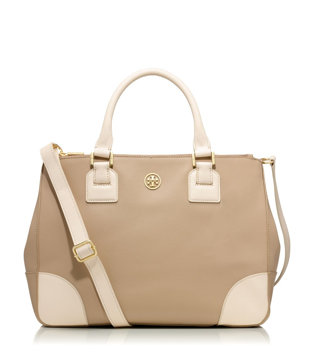 0231fcad2c Tory Burch Robinson Colorblock Double Zip Tote in Natural - Lyst