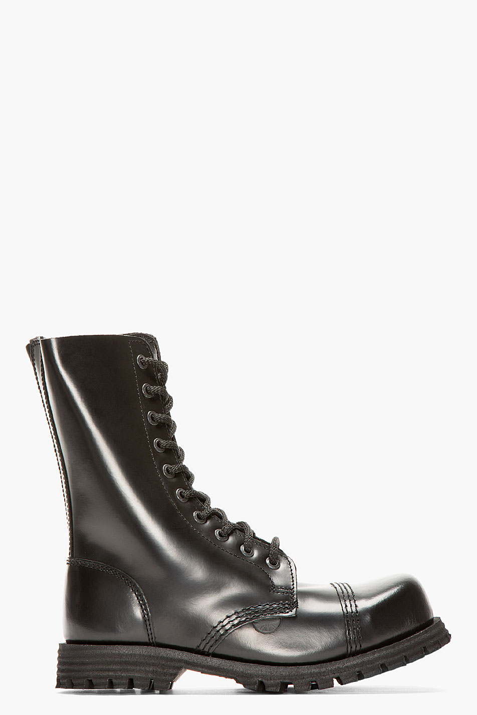 Lyst Underground Black Leather Commando 10 Eye Steelcap