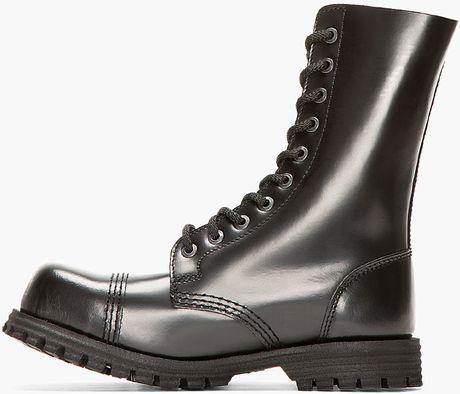 Underground Black Leather Commando 10 Eye Steelcap Boots