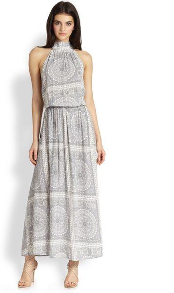 zimmermann paisley funnelneck long dress in gray paisley lyst. Black Bedroom Furniture Sets. Home Design Ideas