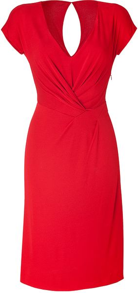 Alberta Ferretti Crimson Red Draped Dress - Lyst