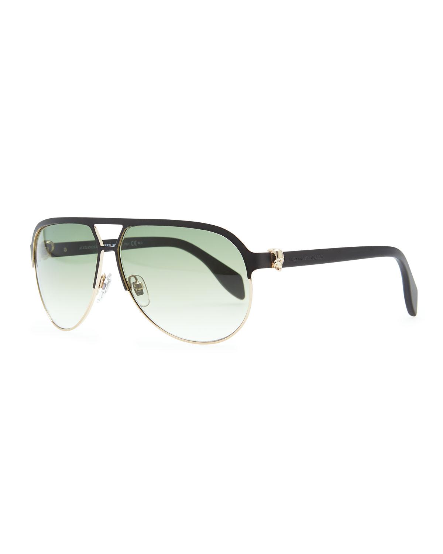 c23ea268e83 Lyst - Alexander McQueen Gold Skull Aviator Sunglasses in Green for Men