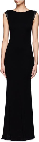 Alice Olivia Joi Leather Sleeve Wool Maxi Dress In Black