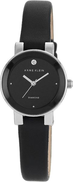 Anne klein ladies silvertone and black watch with leather strap in black lyst for Anne klein leather strap