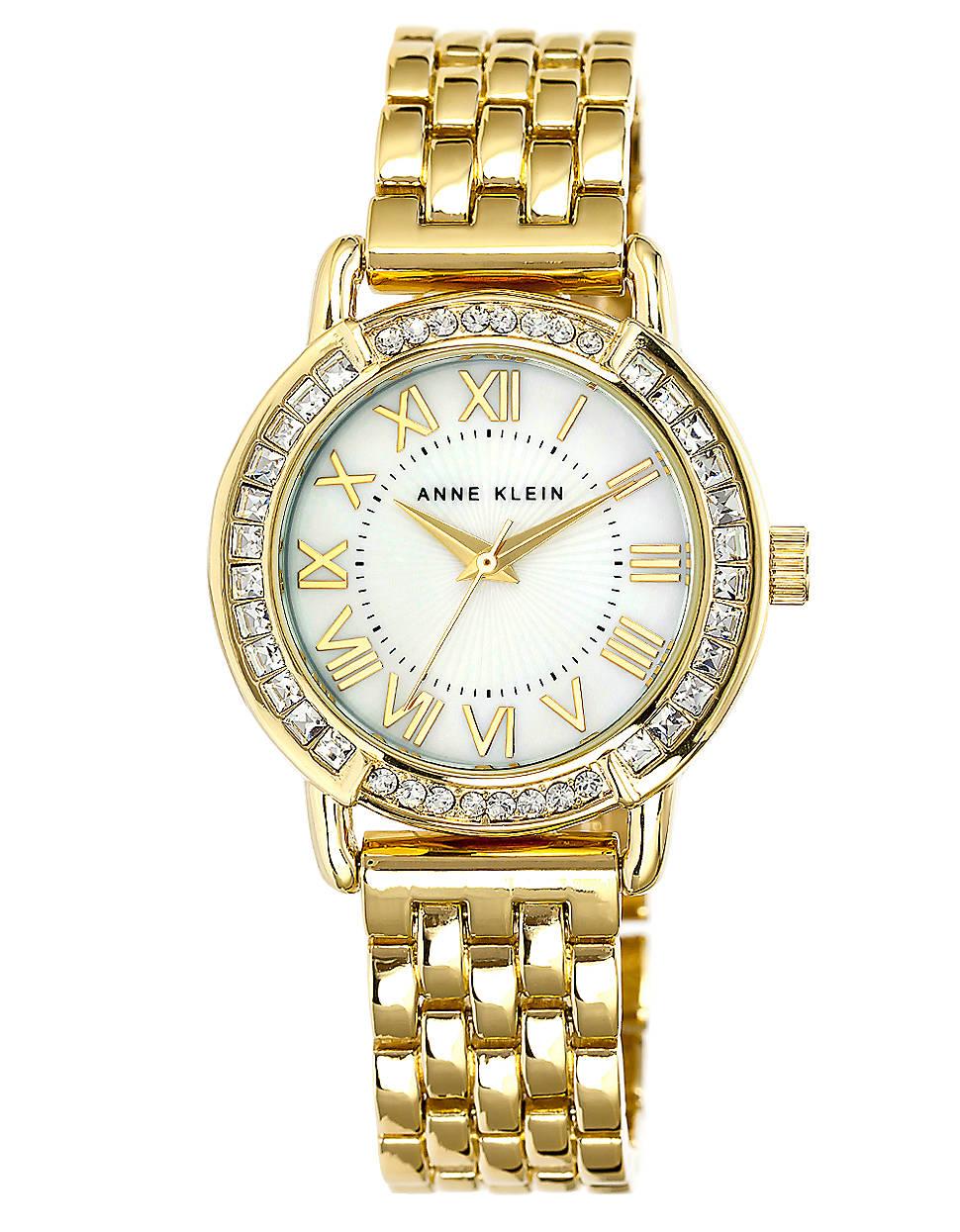 Anne klein goldtone bracelet watch with swarovski crystals in gold lyst for Anne klein swarovski crystals