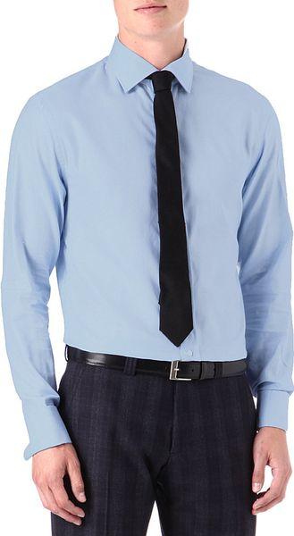 armani formal spreadcollar basketweave shirt in blue for