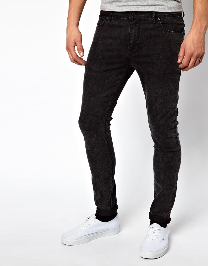 Asos Super Skinny Jeans In Black Acid Wash in Black for Men | Lyst