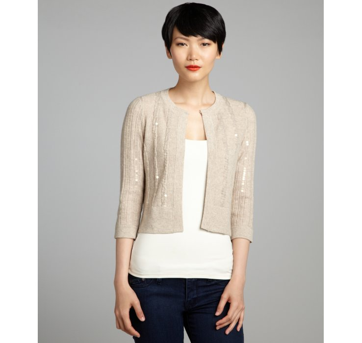 Autumn cashmere Sand Sequined Cable Knit Cashmere Cropped Cardigan ...