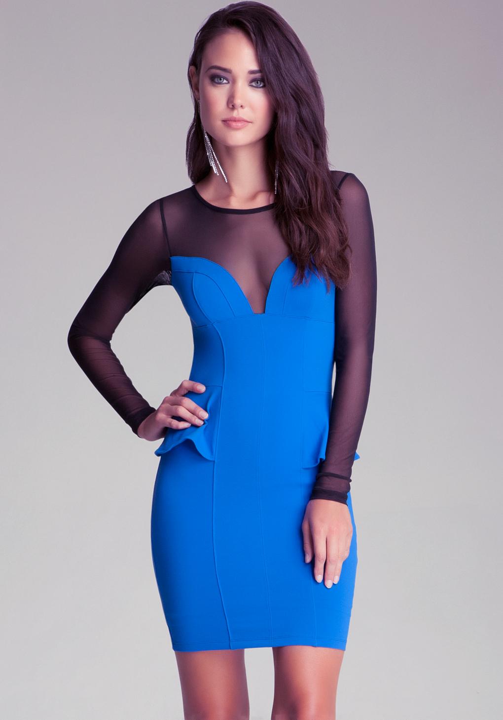 Bebe Long Sleeve Mesh Yoke Peplum Dress In Blue Lyst