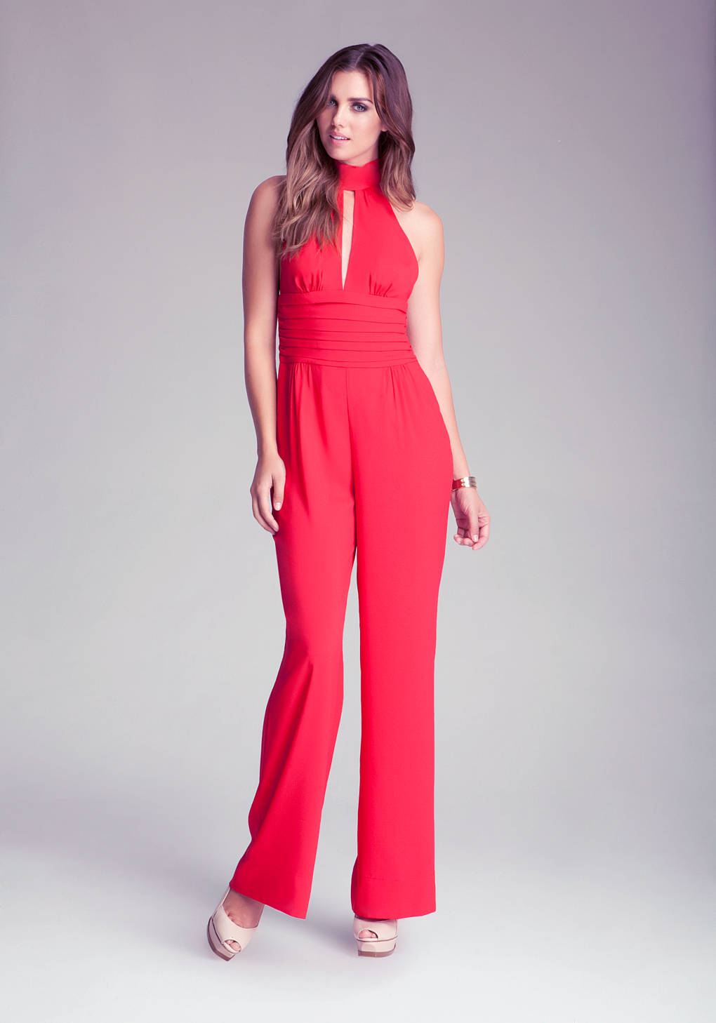 Bebe Petite Scarf Tie Jumpsuit In Red Lyst