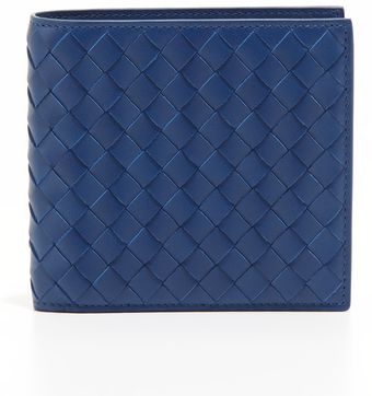 Bottega Veneta Woven Leather Wallet Blue - Lyst