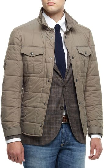 Brunello Cucinelli Quilted Nylon Short Jacket - Lyst