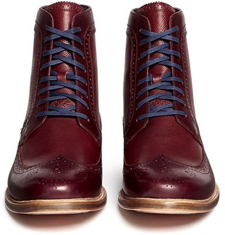 Cole Haan Cooper Perforated Wingtip Boots In Red For Men