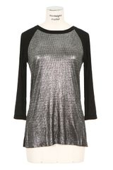 Enza Costa Black Tshirt with Silvertone Lamé Effect - Lyst