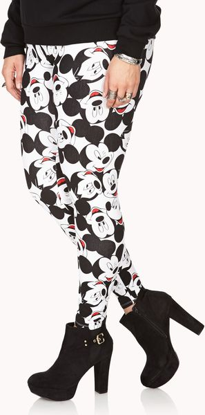 21 Mickey Mouse Nail Art Designs Ideas: Forever 21 Mickey Mouse Leggings In Black (White/black)