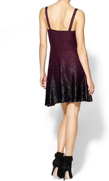 Free People Foil Ombre Lace Fit And Flare Dress In Purple