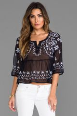 Free People Pennies Sequel Emroboidered Top in Navy - Lyst