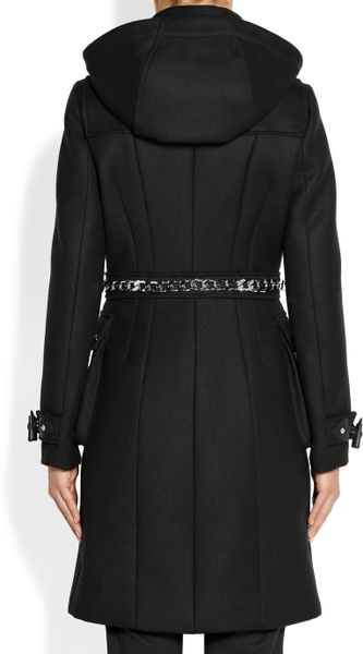 Givenchy Black Hooded Woolblend Duffle Coat With Silver