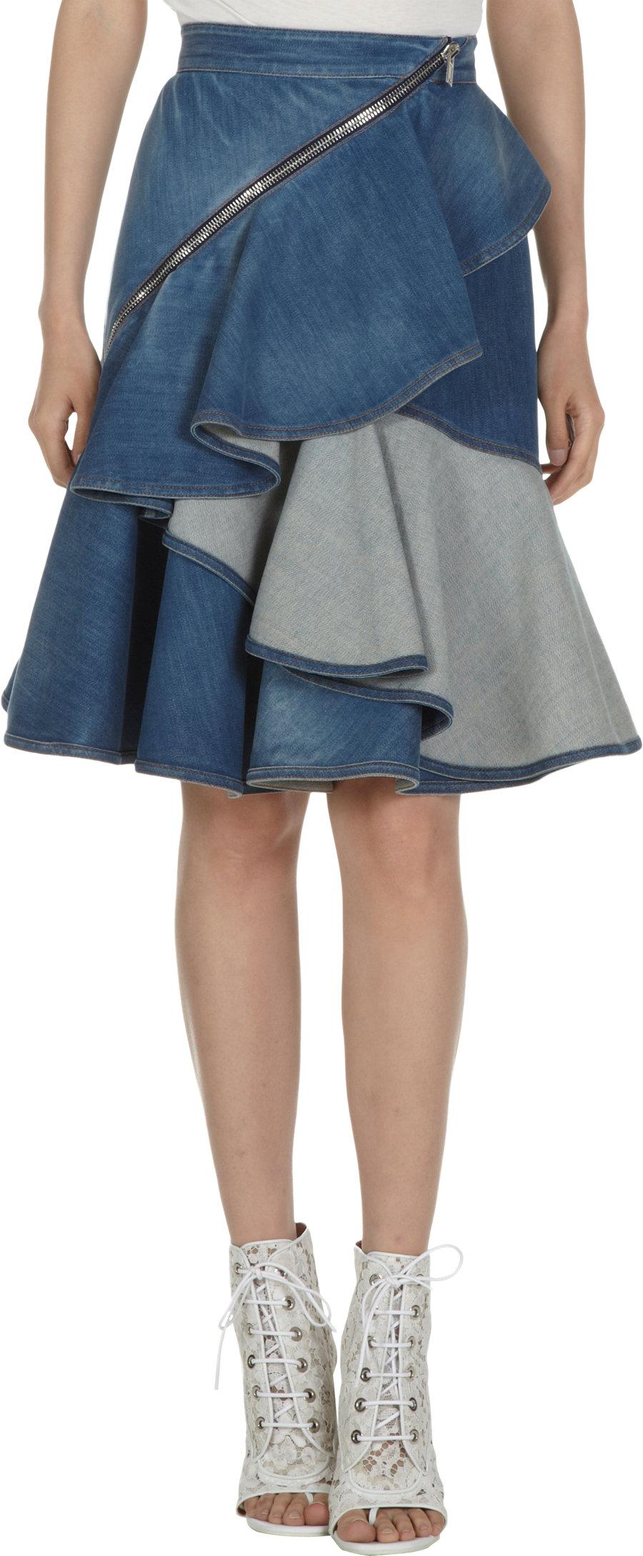 givenchy ruffled denim skirt in blue lyst