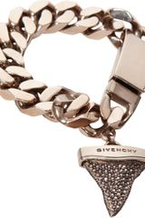 Givenchy Rose Gold Crystal Sharks Tooth Charm Bracelet - Lyst