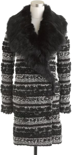 J.Crew Collection Toscana Shearling Coat in Pompom Tweed - Lyst