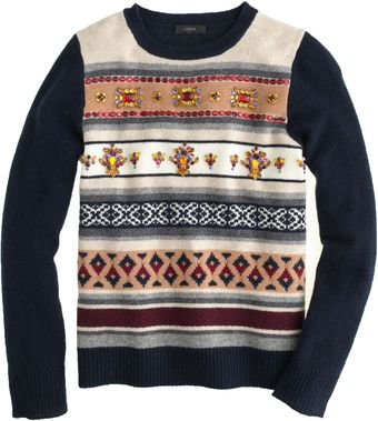 J.Crew Jeweled Fair Isle Stripe Sweater - Lyst