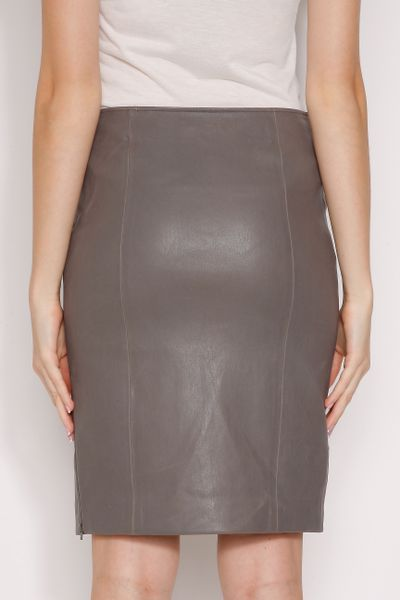 joseph stretch leather pencil skirt in gray grey lyst