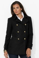 Lauren by Ralph Lauren Woolblend Military Pea Coat - Lyst