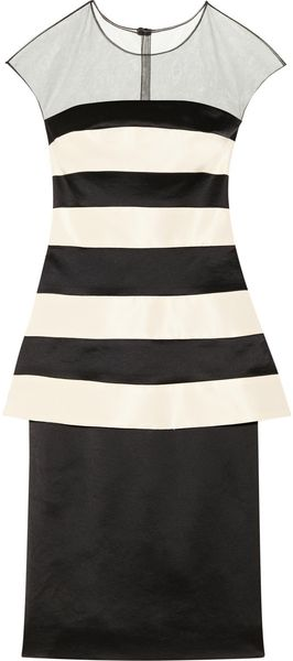 Lela Rose Striped Faille and Stretchsatin Dress - Lyst
