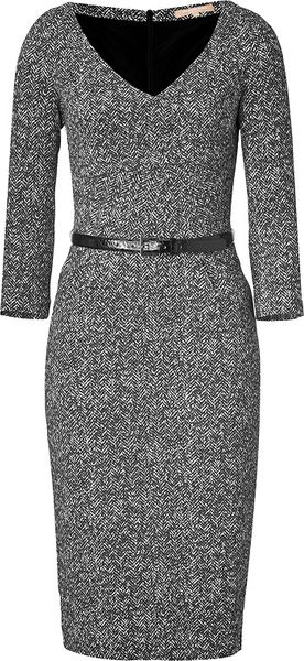 Michael Kors Blackivory Belted Dress - Lyst