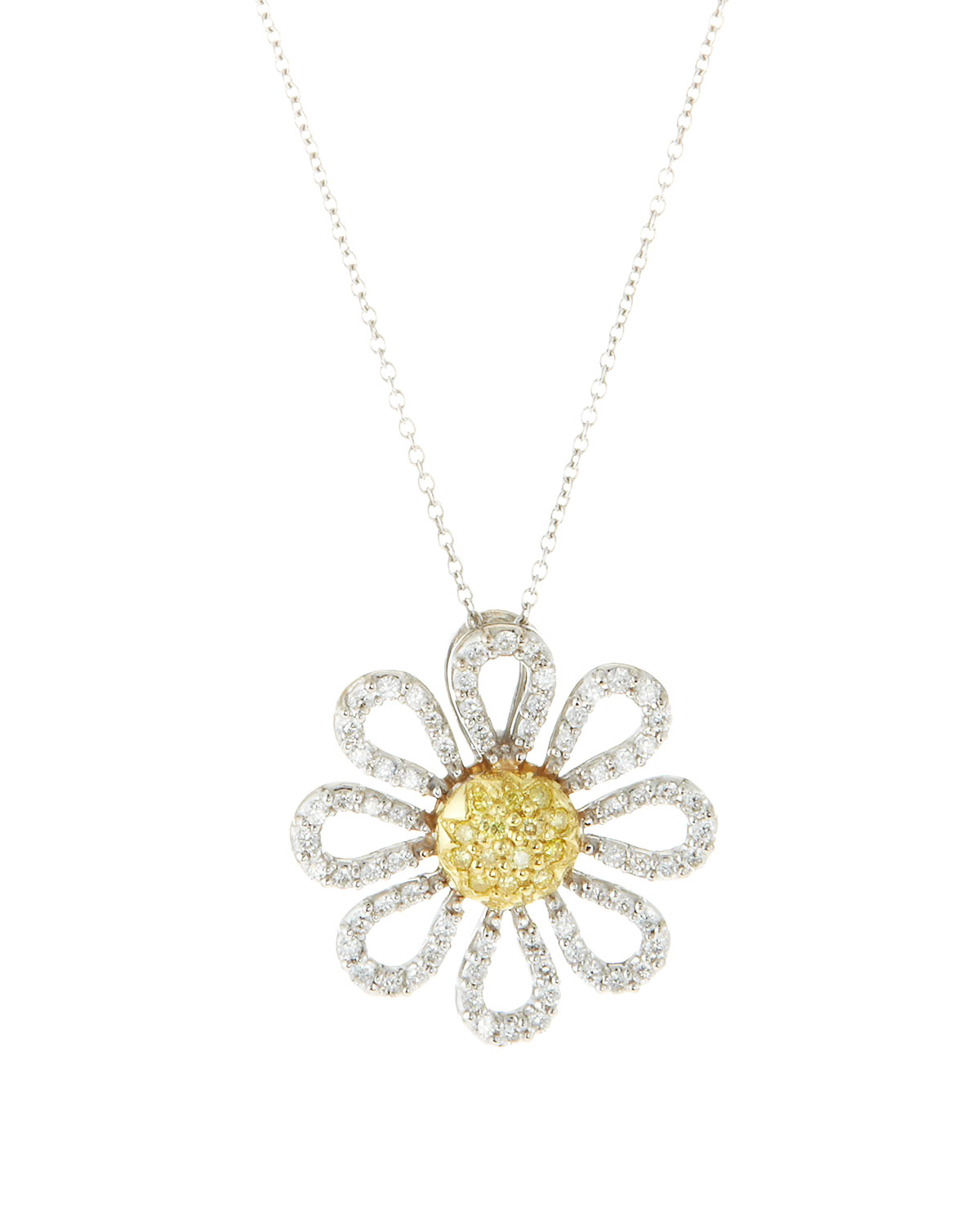 sterling plated necklace yellow image jewellery amp london necklaces daisy pendant silver gold classic
