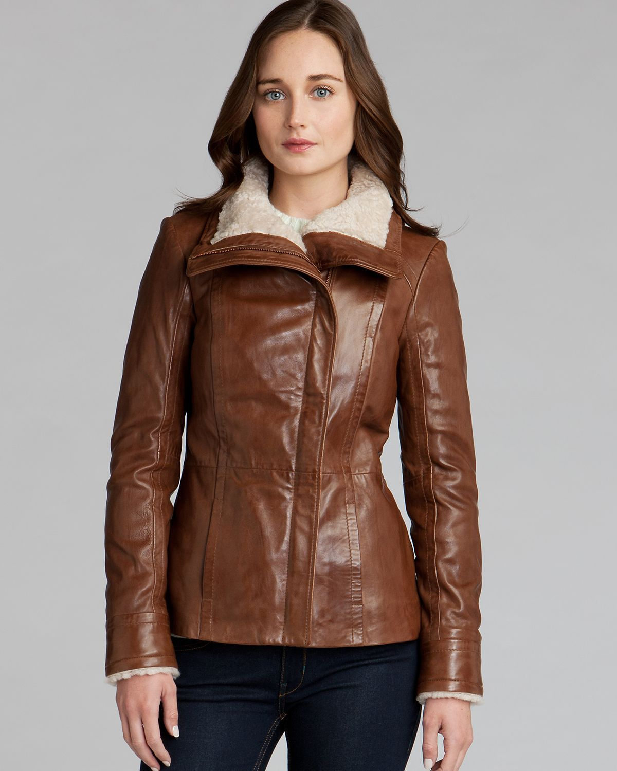 Ted baker Leather Jacket Amilia Shearling Collar in Brown | Lyst