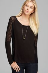 Three Dots Mesh Sleeve Top - Lyst