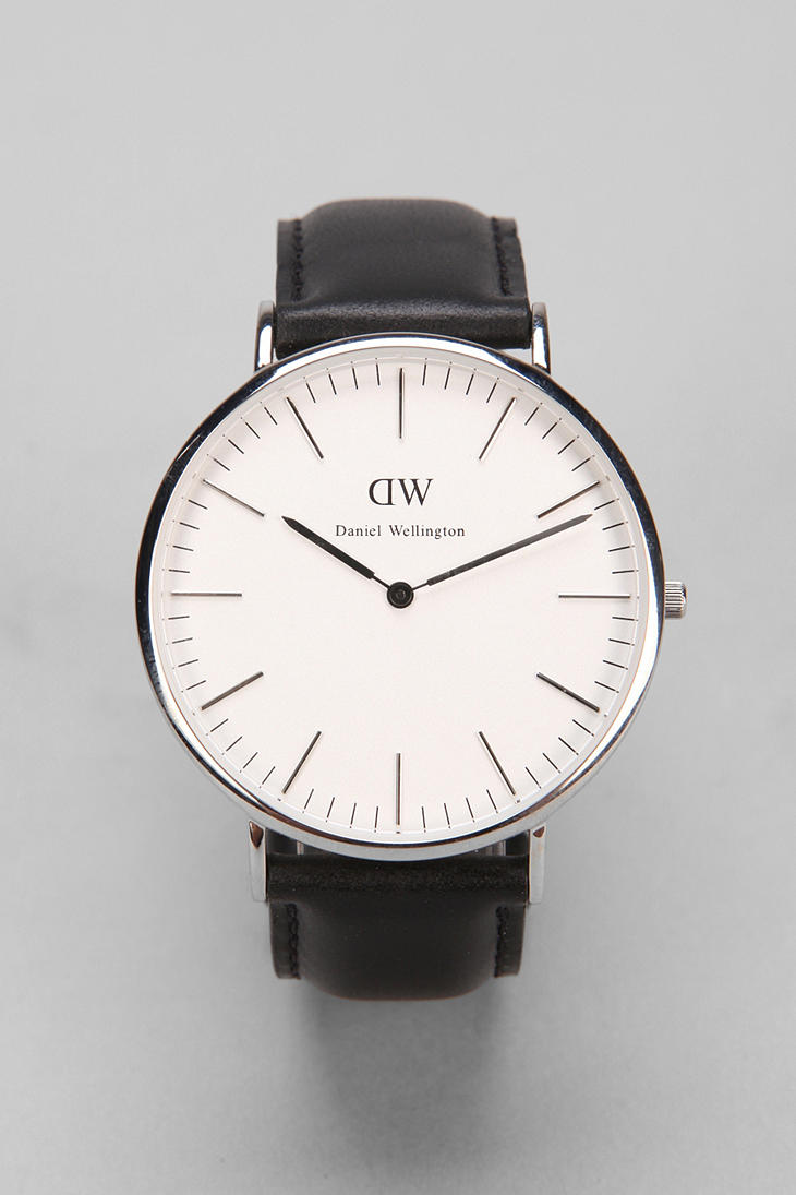daniel wellington sheffield watch in black for men silver