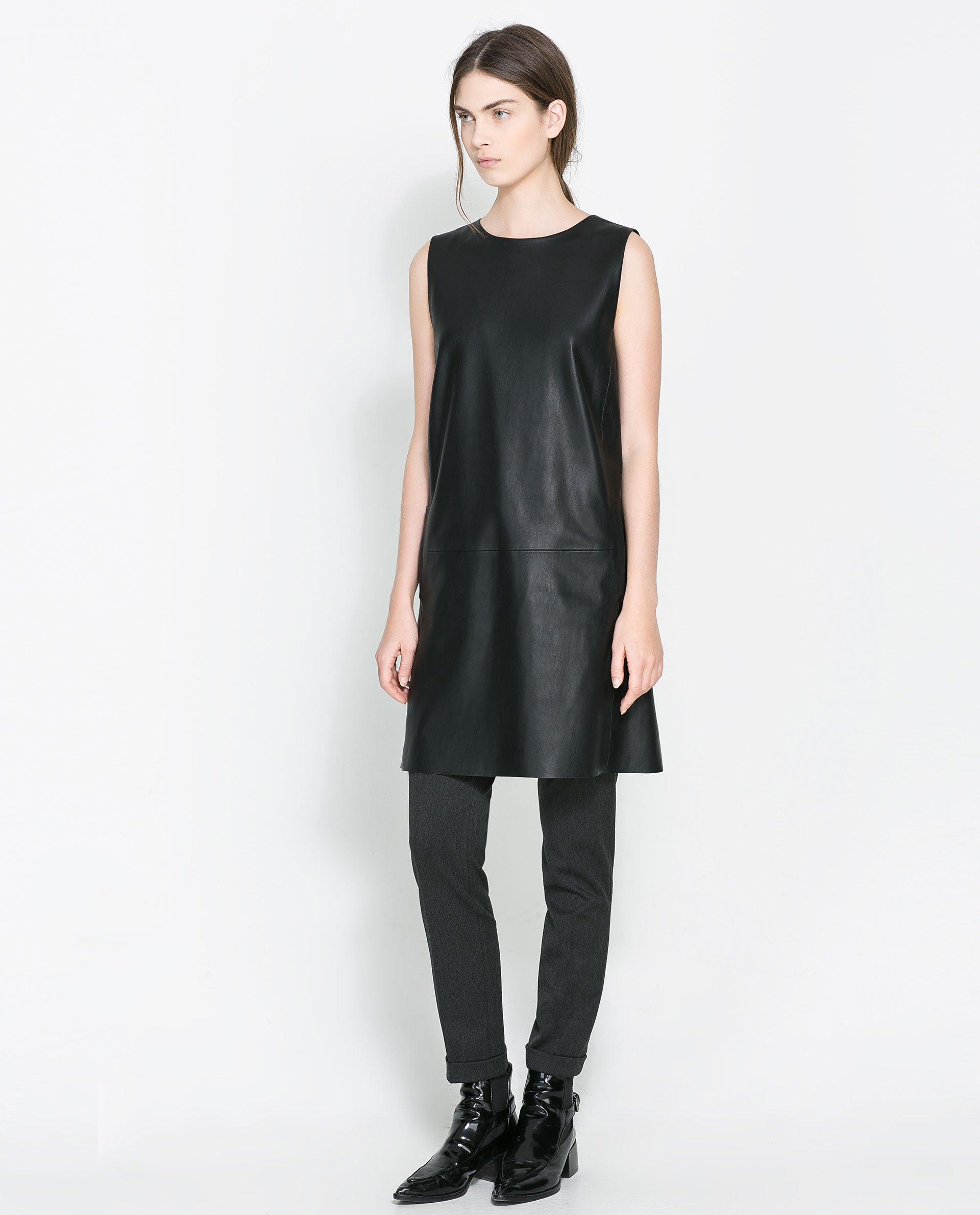 Zara Faux Leather Dress in Black