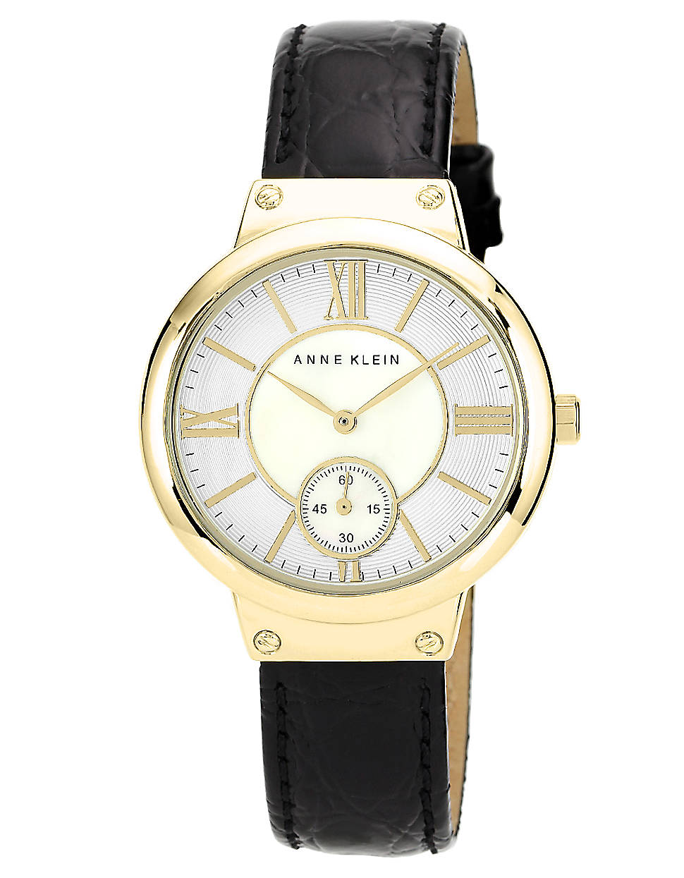 Anne klein goldtone watch with genuine leather strap in black for men lyst for Anne klein leather strap