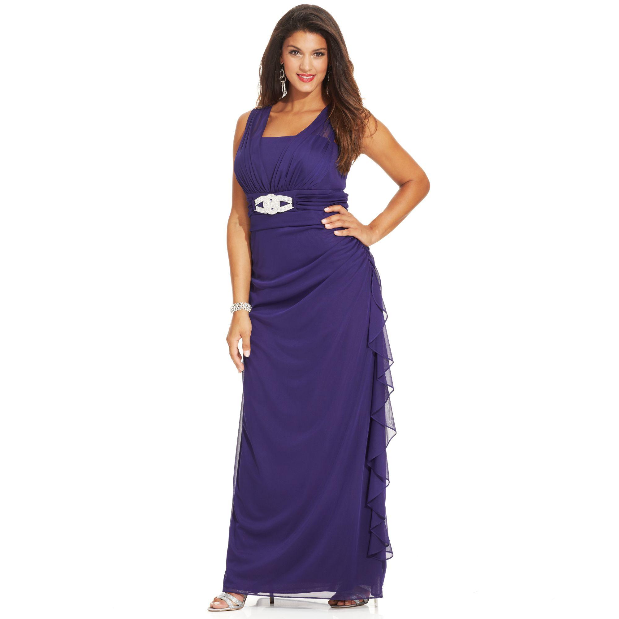 Betsy adam purple chiffon evening dress