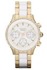 DKNY White Ceramic Goldtone Stainless Steel Chronograph Watch - Lyst