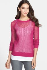 Halogen Open Stitch Sweater - Lyst