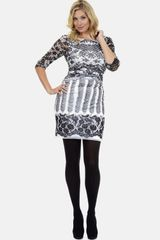 Kay Unger Print Stretch Mesh Dress - Lyst