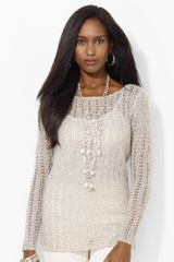 Lauren by Ralph Lauren Metallicknit Boatneck Tunic Sweater - Lyst