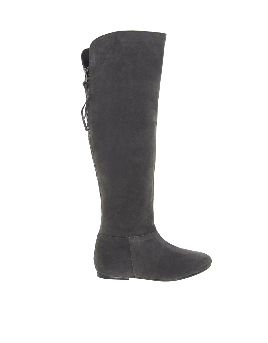 miss kg blossom gray suede knee high boots in gray grey