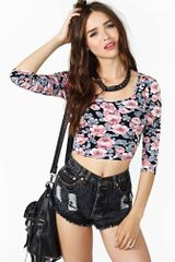 Nasty Gal Inked Rose Crop Top - Lyst
