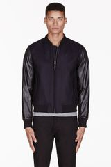 Rag & Bone Navy Wool and Leather Bastion Jacket - Lyst