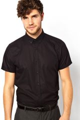 Asos Smart Shirt in Short Sleeve with Button Down Collar in Cotton - Lyst