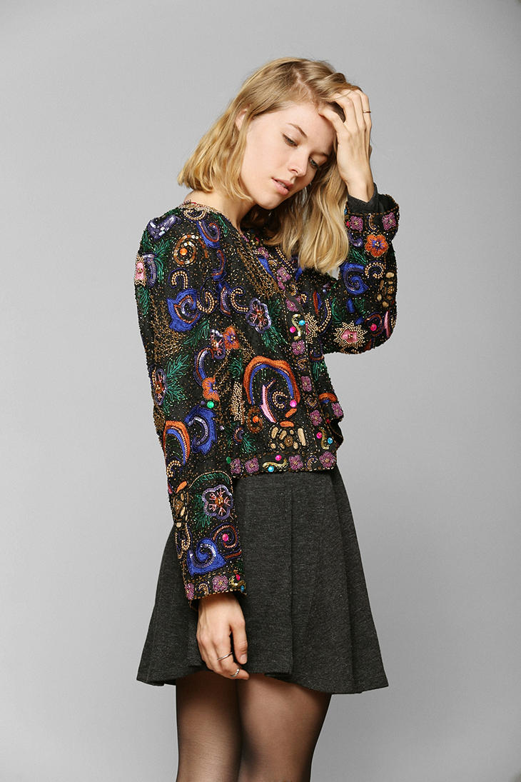 urban outfitters black vintage cosmic sequin jacket product 3 14773211 364237706