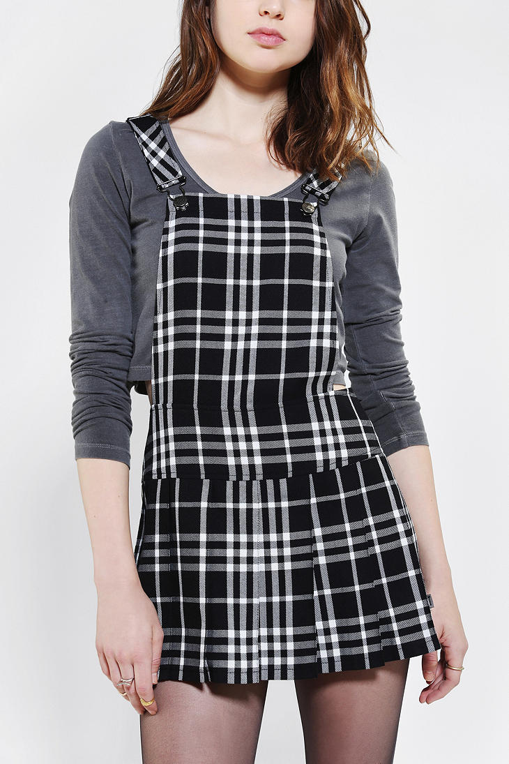 Urban Outfitters Tripp Nyc Plaid Pleated Overall Skirt In