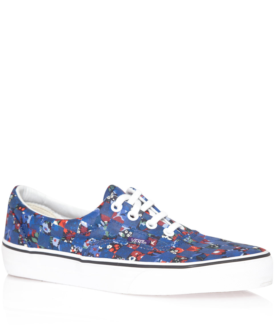 51d3ab78c2537b Lyst - Vans Navy Floral Checker Liberty Print Era Trainers in Blue ...